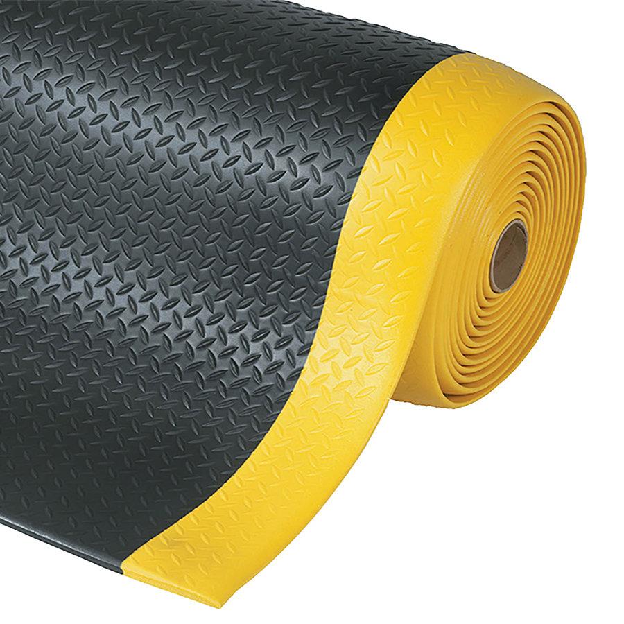 Černo-žlutá protiúnavová průmyslová rohož Diamond, Sof-Tred - výška 1,27 cm