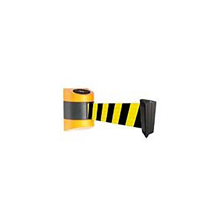 Černo-žlutá nástěnná vymezovací kazeta se samonavíjecím pásem - délka 4,3 m, šířka 8,5 cm a výška 14,2 cm