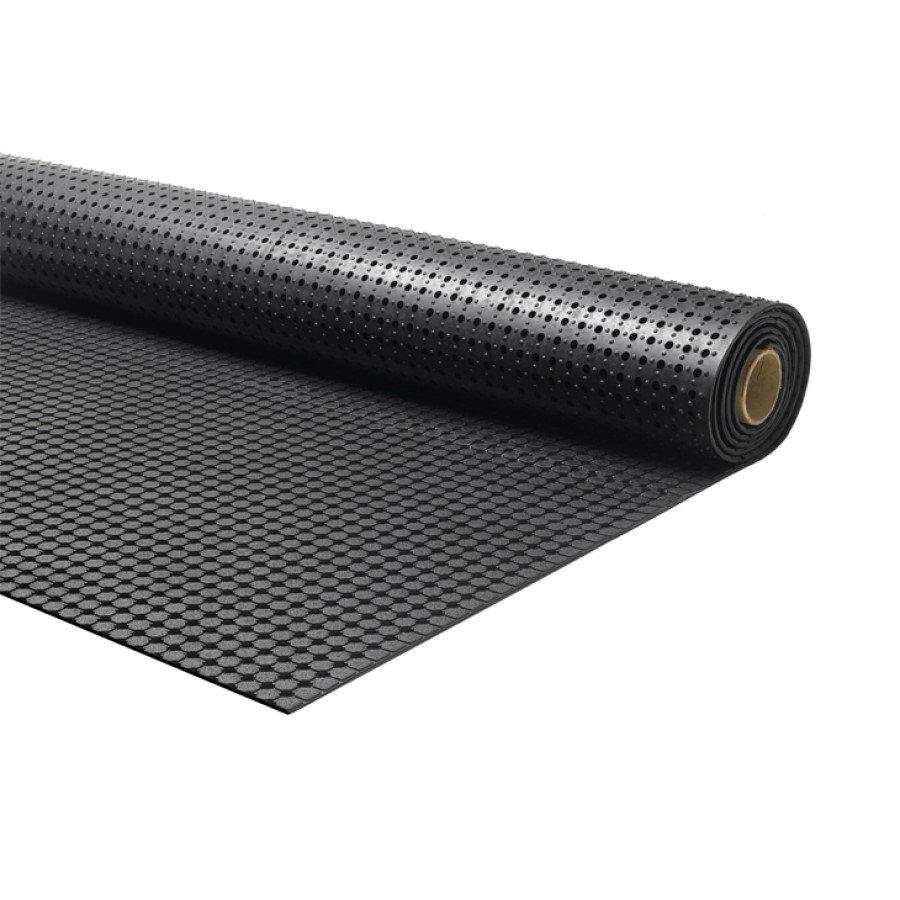 Černá protiskluzová průmyslová podlahová guma Forte, FLOMA - délka 10 m a výška 1 cm