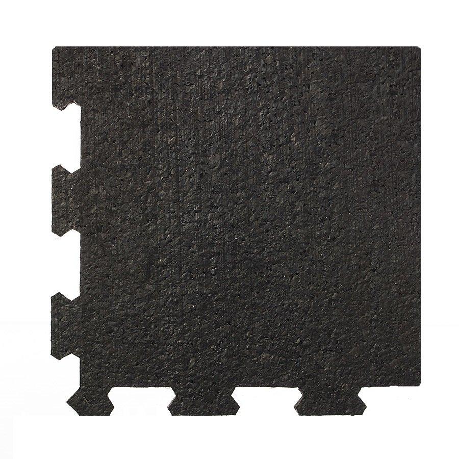 Černá pryžová modulární fitness deska (roh) SF1050, FLOMA - délka 95,6 cm, šířka 95,6 cm a výška 0,8 cm