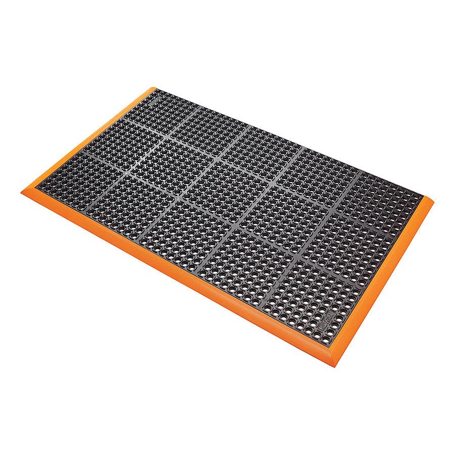 Černo-oranžová extra odolná průmyslová olejivzdorná rohož (100% nitrilová pryž) Safety Stance - délka 315 cm, šířka 97 cm a výška 2,2 cm