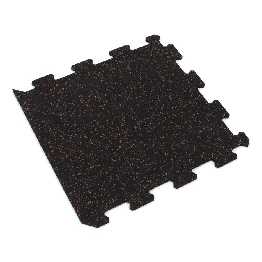 Černo-červená gumová modulová puzzle dlažba (okraj) FLOMA IceFlo SF1100 - délka 47,8 cm, šířka 47,8 cm a výška 0,8 cm