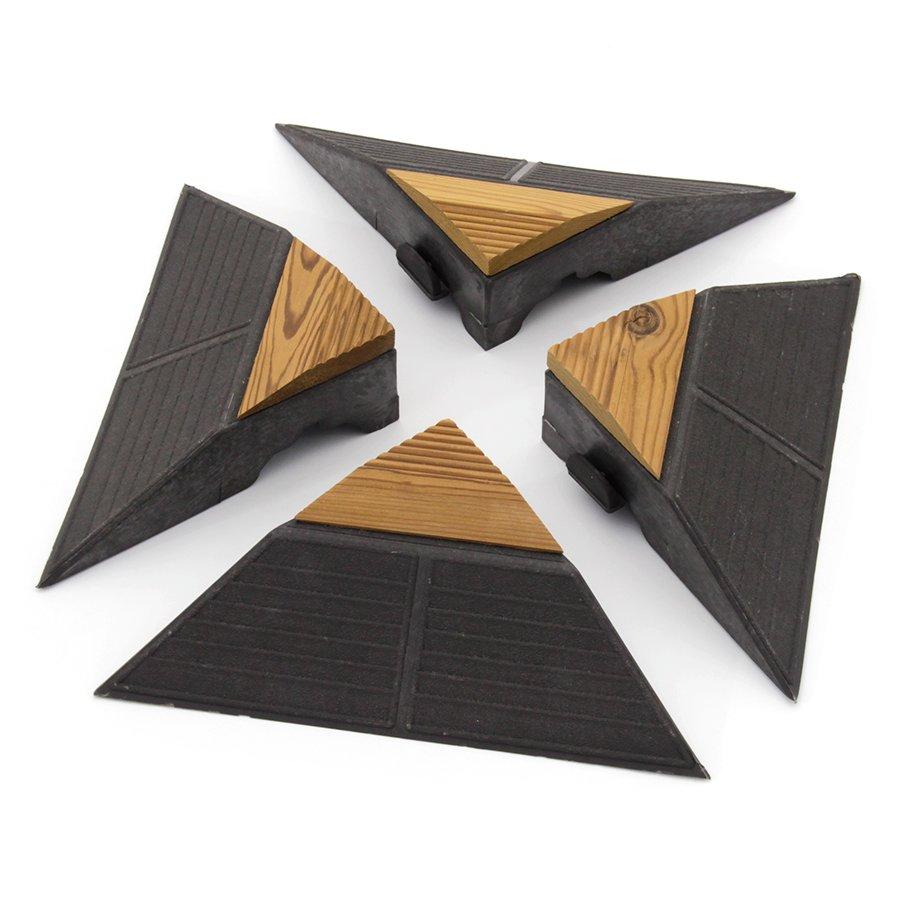 Hnědý dřevoplastový rohový nájezd pro terasové dlaždice Linea Combi-Wood - výška 6,5 cm - 4 ks
