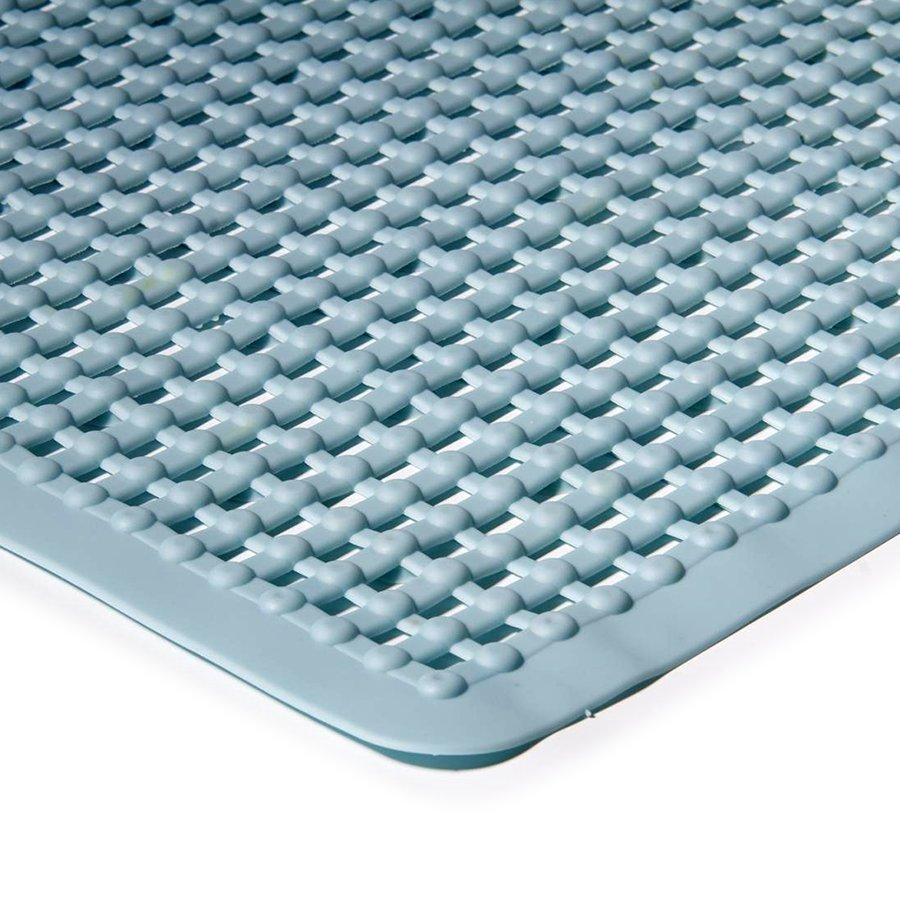 Modrá protiskluzová koupelnová vanová rohož FLOMA - délka 55 cm a šířka 55 cm