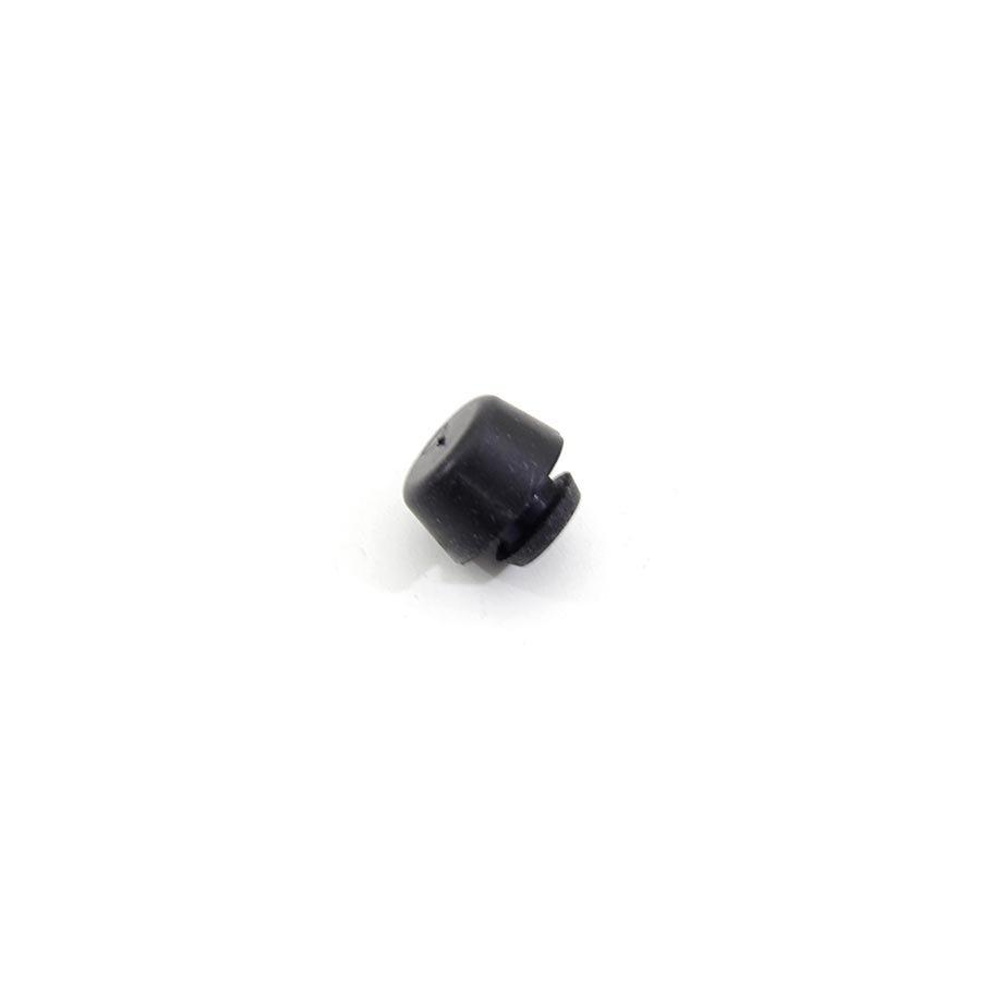 Černý pryžový doraz nástrčný do díry FLOXO - průměr 1,7 cm, výška 0,9 cm a výška krku 0,3 cm