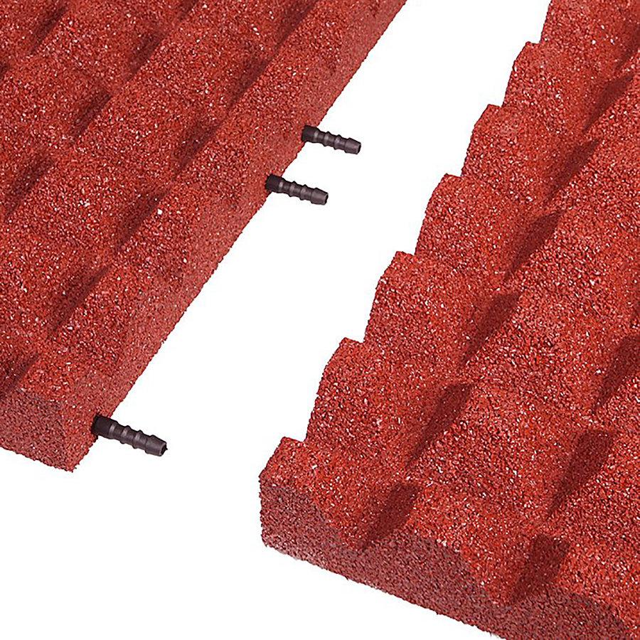Červená gumová krajová dopadová dlaždice (V55/R28) FLOMA - délka 50 cm, šířka 25 cm a výška 5,5 cm