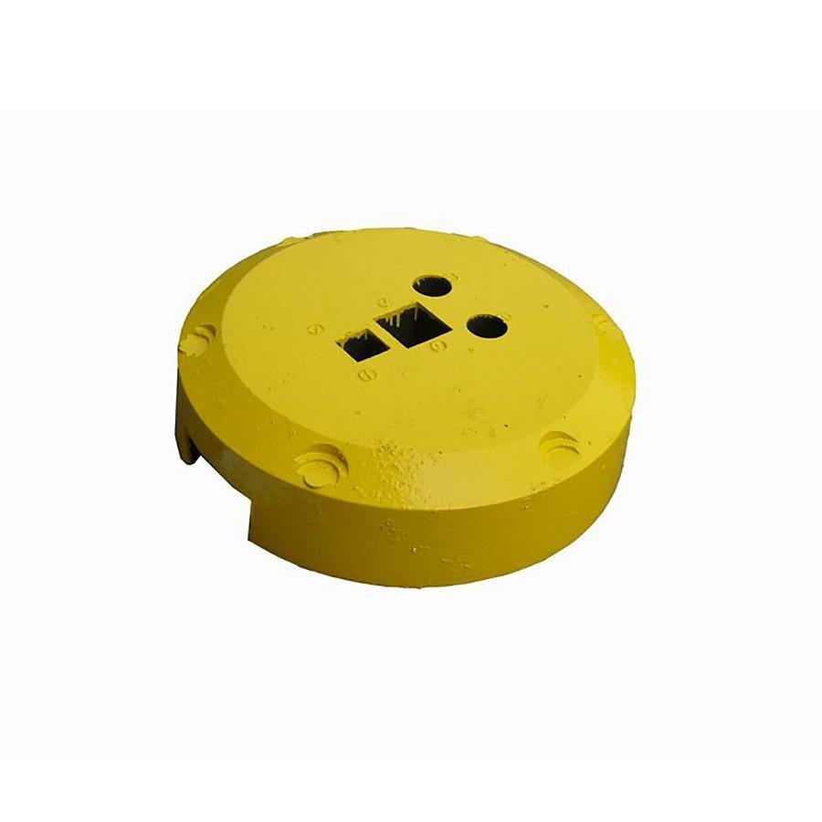 Žlutý plastový kulatý podstavec pod dopravní značky - průměr 49 cm a výška 12 cm
