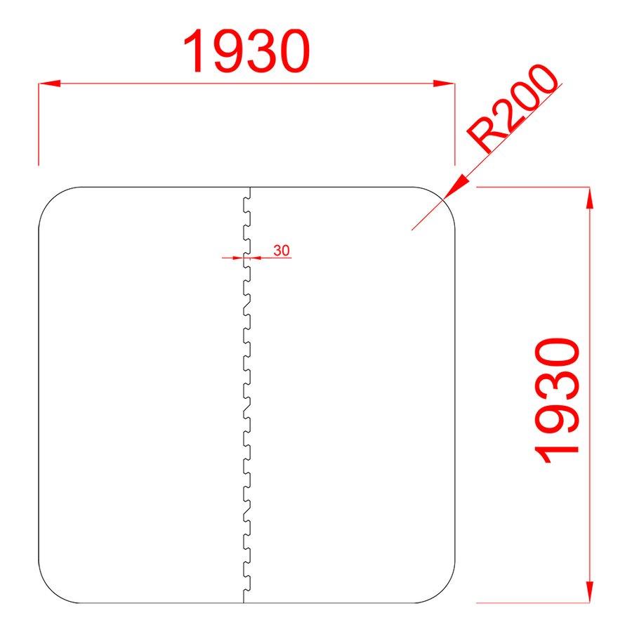 Gumová ochranná tlumící čtvercová podložka pod bazén, vířivku FLOMA PoolPad - délka 193 cm, šířka 193 cm a výška 0,8 cm