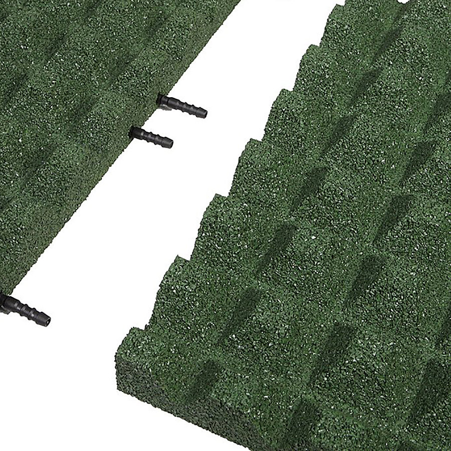 Zelená gumová krajová dopadová dlaždice (V50/R28) FLOMA - délka 50 cm, šířka 25 cm a výška 5 cm