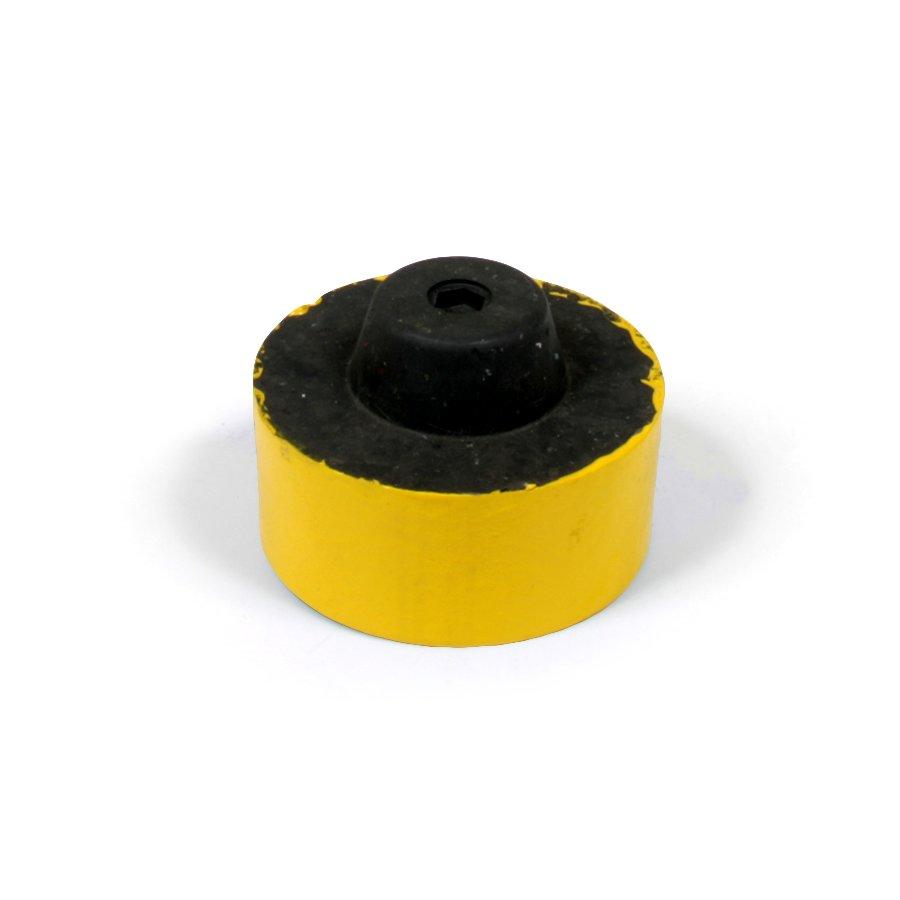 """Žlutá plastová koncovka pro silniční obrubníky """"samec"""" - délka 14,5 cm, šířka 14,5 cm a výška 6 cm"""