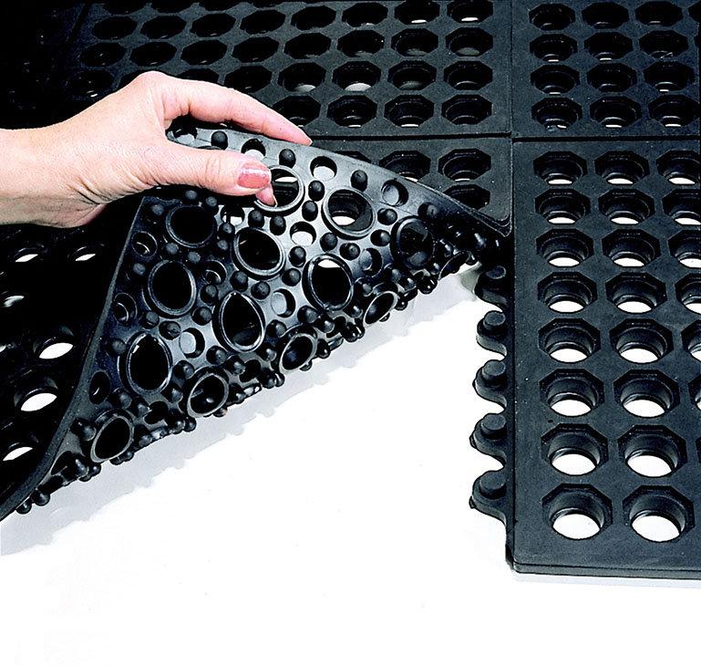 Modrá gumová modulární průmyslová protiúnavová protiskluzová děrovaná rohož Fatigue - délka 90 cm, šířka 90 cm a výška 1,8 cm
