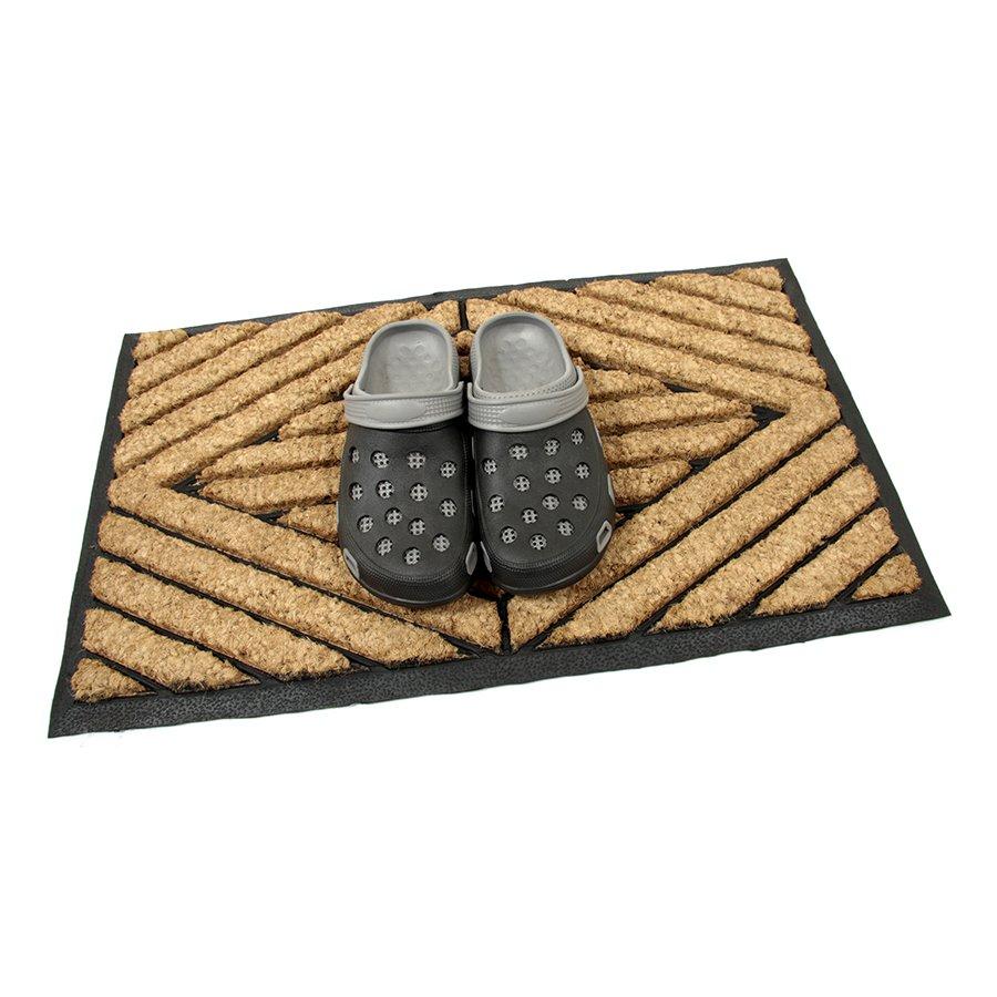 Kokosová čistící venkovní vstupní rohož FLOMA Rectangle - Stripes - délka 45 cm, šířka 75 cm a výška 2,2 cm