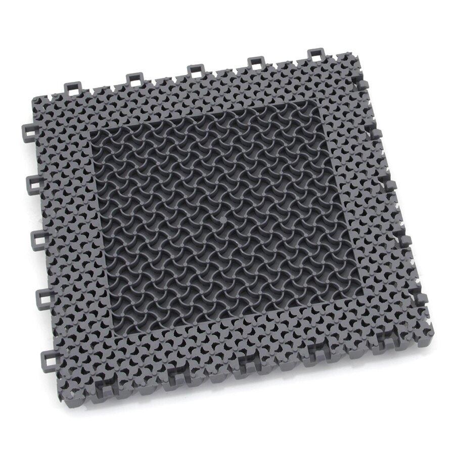 Šedá plastová textilní zátěžová modulová vstupní rohož Modular 9900 - Aqua 85 (Bfl-S1) - délka 30 cm, šířka 30 cm a výška 2,19 cm