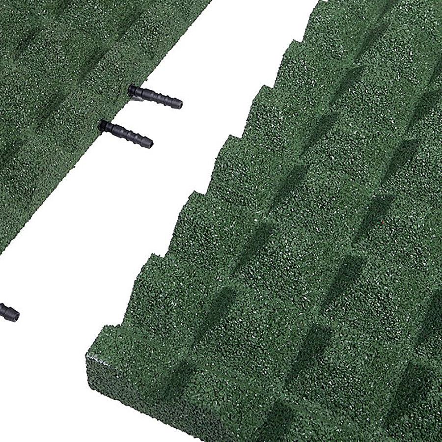Zelená gumová krajová dopadová dlaždice (V45/R28) FLOMA - délka 50 cm, šířka 25 cm a výška 4,5 cm