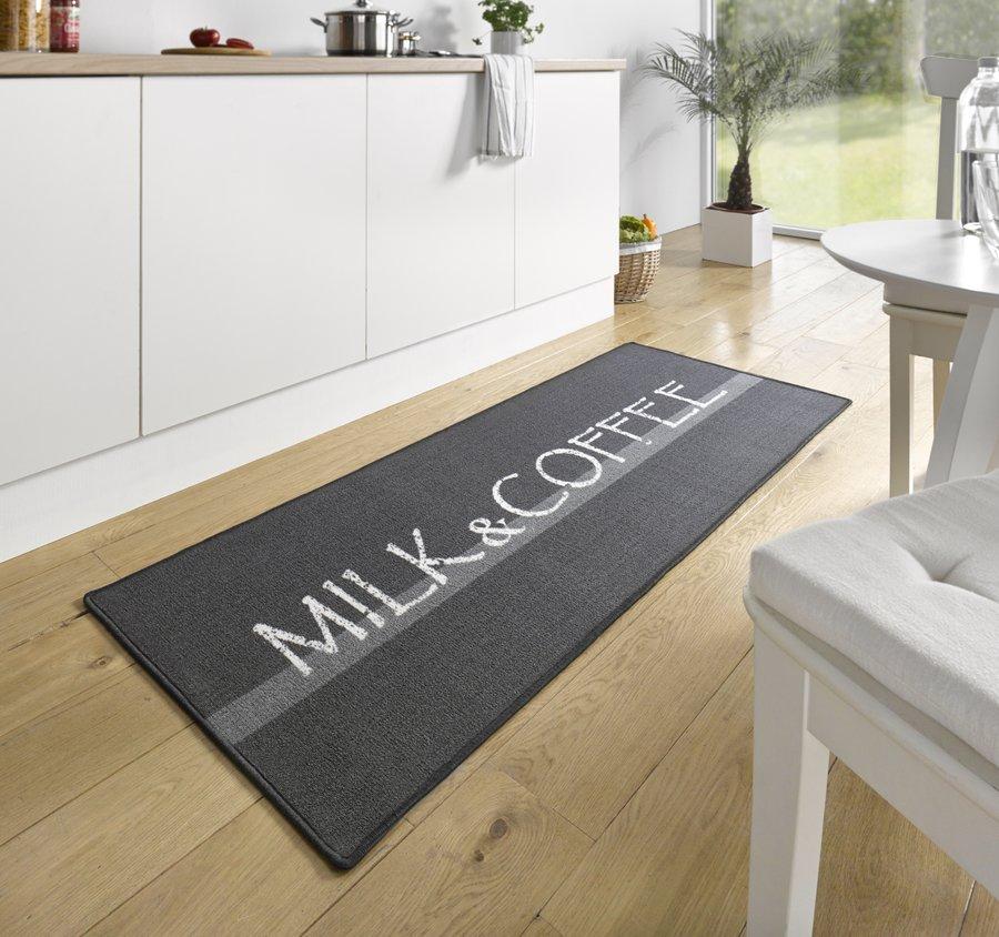 Černá kuchyňská kusová moderní předložka Loop, 02 - délka 180 cm a šířka 67 cm
