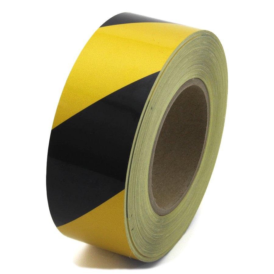 Černo-žlutá levá reflexní výstražná páska - délka 45 m a šířka 5 cm