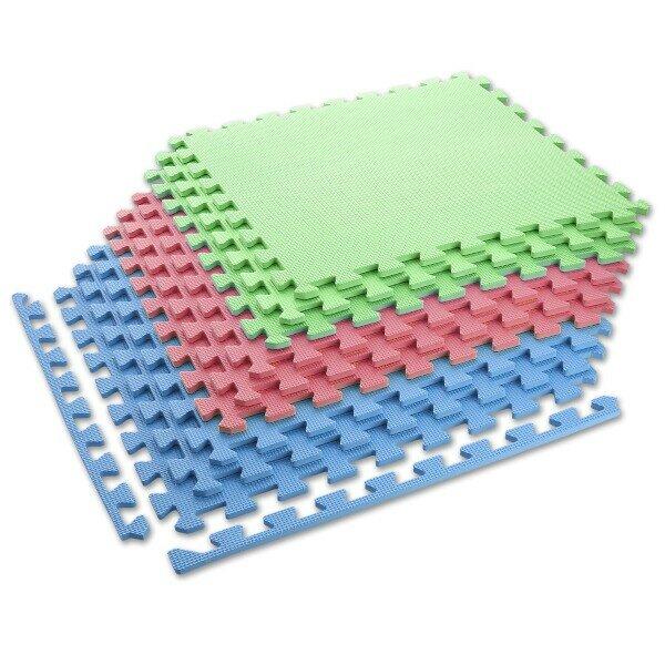 Různobarevná pěnová modulová puzzle podložka (9x puzzle) ONE FITNESS - délka 180 cm, šířka 180 cm a výška 1 cm
