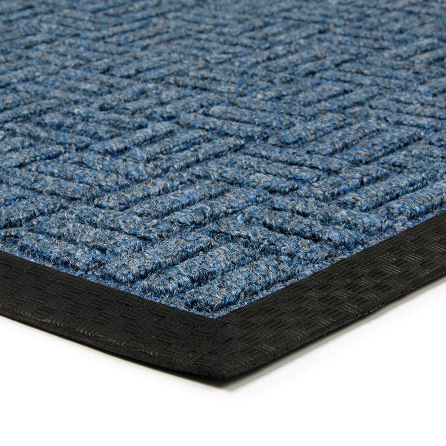 Modrá textilní čistící venkovní půlkruhová vstupní rohož FLOMA Criss Cross - délka 45 cm, šířka 75 cm a výška 1 cm