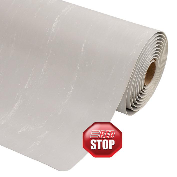 Šedá metrážová protiúnavová průmyslová laminovaná rohož Marble Soft - délka 1 cm a výška 1,27 cm