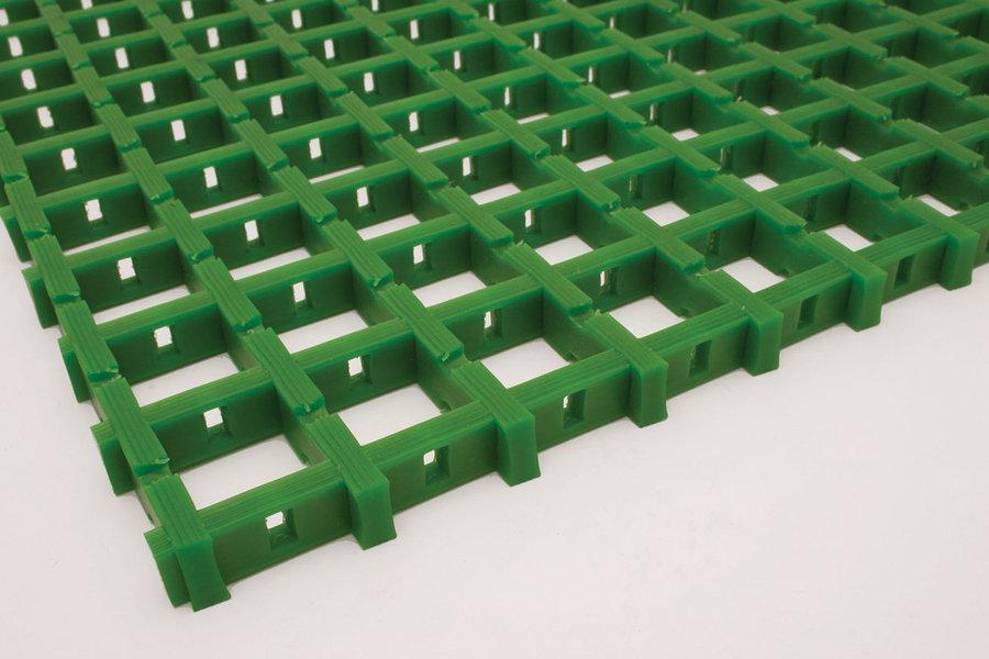 Zelená univerzální průmyslová olejivzdorná rohož (mřížka 30 x 30 mm) - délka 5 m, šířka 60 cm a výška 1,2 cm