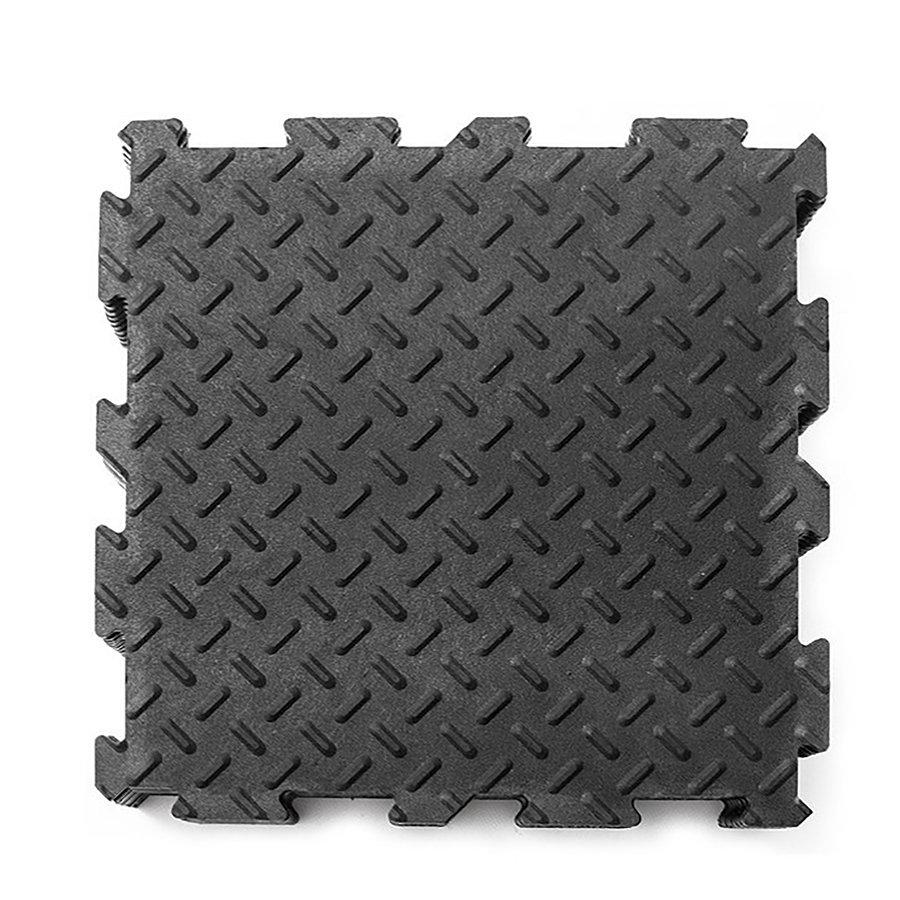 Černá gumová modulární fitness rohož - délka 30 cm, šířka 30 cm a výška 0,6 cm