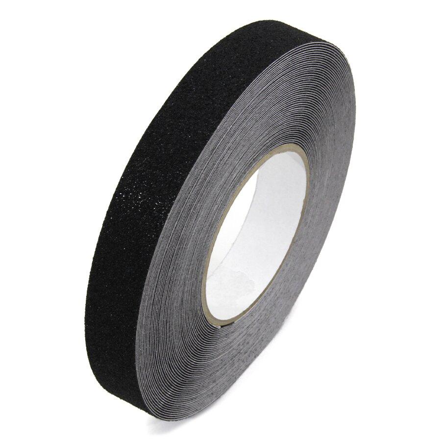 Černá korundová protiskluzová páska FLOMA Standard - délka 18,3 m, šířka 2,5 cm a tloušťka 0,7 mm