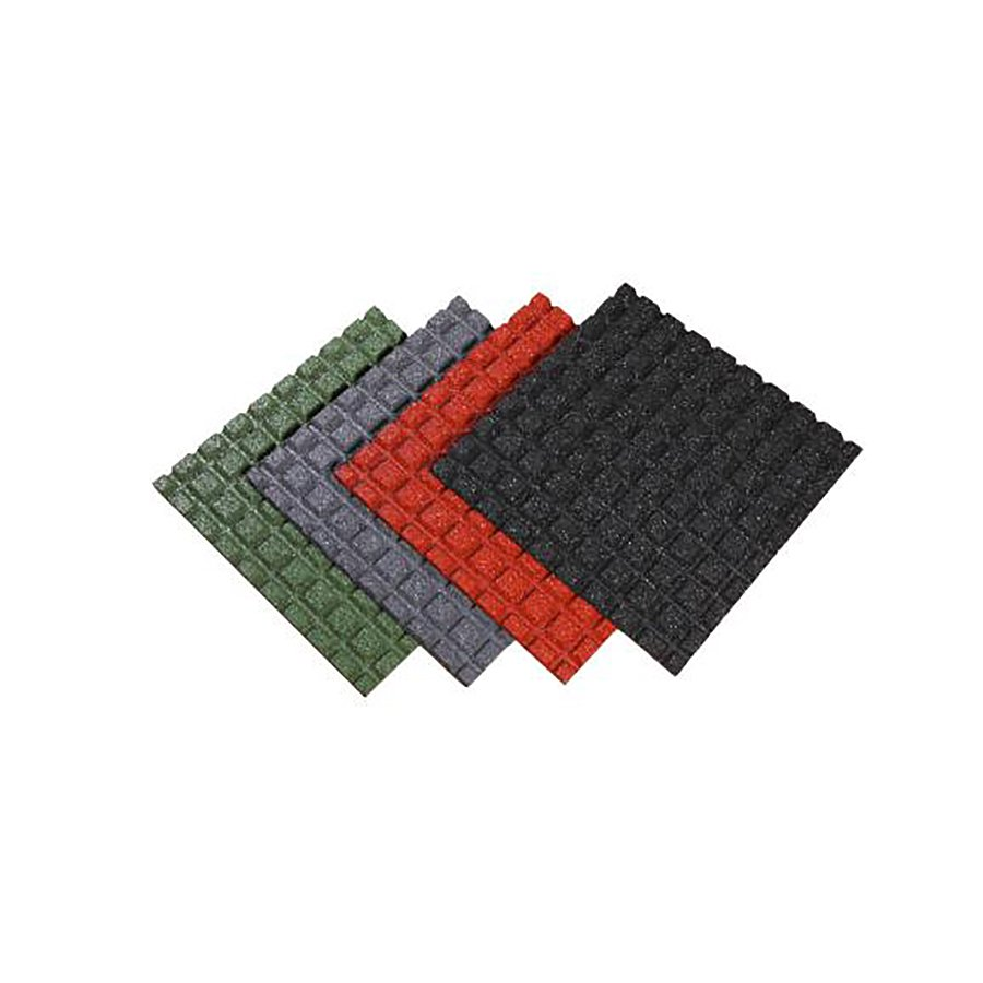 Zelená gumová dopadová dlaždice (V40/R15) FLOMA - délka 50 cm, šířka 50 cm a výška 4 cm
