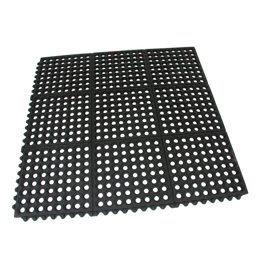 Gumová protiúnavová modulární děrovaná rohož Restaurant Top Tile, FLOMAT - délka 91 cm, šířka 91 cm a výška 1,4 cm