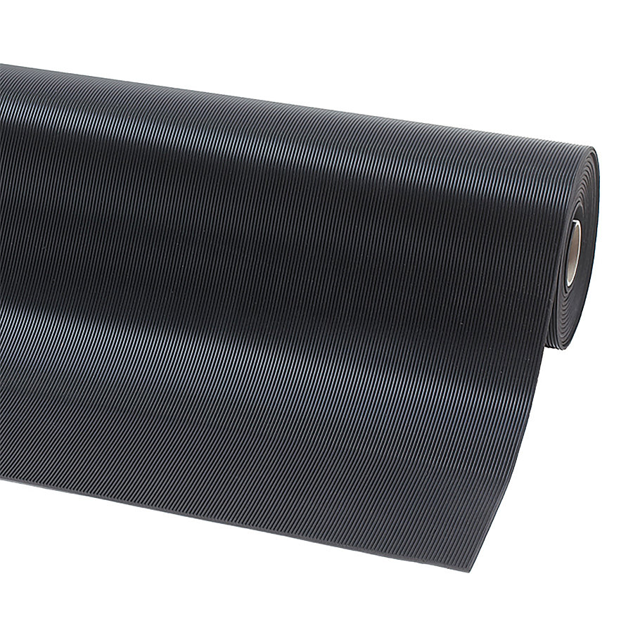 Černá olejivzdorná průmyslová rohož Rib 'n' Roll RS - šířka 100 cm a výška 0,3 cm