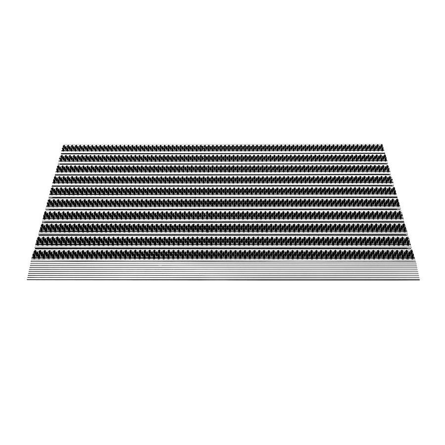 Hliníková venkovní čistící kartáčová rohož Topline, FLOMA - délka 50 cm, šířka 80 cm a výška 1,5 cm