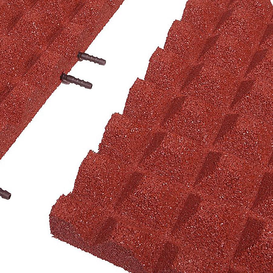 Červená gumová krajová dopadová dlaždice (V50/R28) FLOMA - délka 50 cm, šířka 25 cm a výška 5 cm