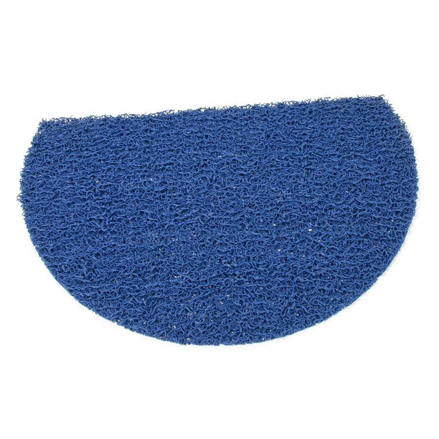 Modrá vinylová protiskluzová sprchová půlkruhová rohož Spaghetti, FLOMAT - délka 40 cm, šířka 59,5 cm a výška 1,2 cm