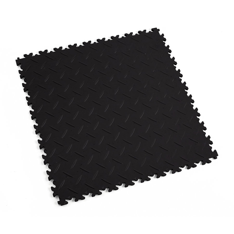 Černá vinylová plastová zátěžová dlaždice Fortelock Eco 2010 (diamant) - délka 51 cm, šířka 51 cm a výška 0,7 cm