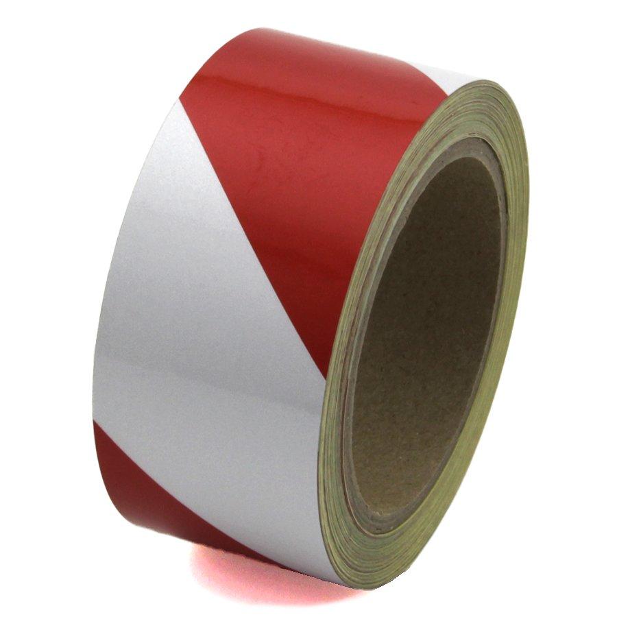 Bílo-červená pravá reflexní výstražná páska - délka 15 m a šířka 5 cm