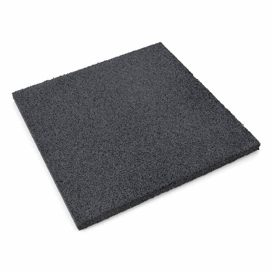 Černá gumová hladká dlažba (V30/R00) FLOMA - délka 50 cm, šířka 50 cm a výška 3 cm