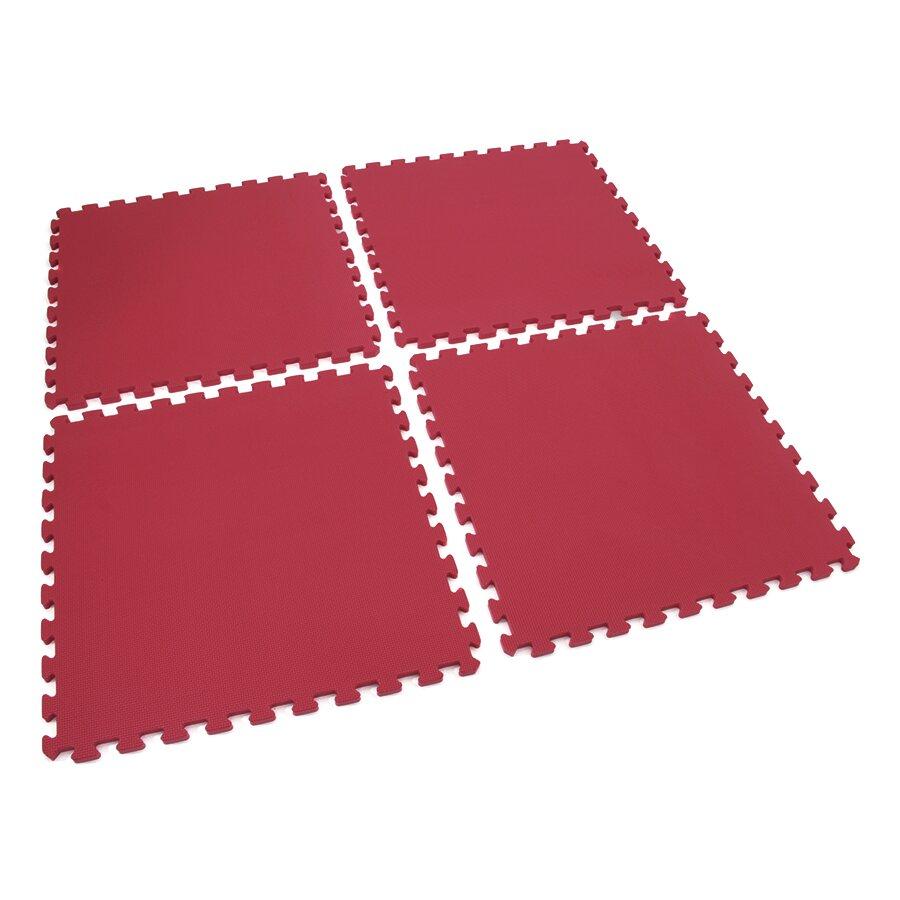 Červená pěnová modulová dětská hrací podložka (4x puzzle) SPARTAN SPORT - délka 122 cm, šířka 122 cm a výška 1,4 cm