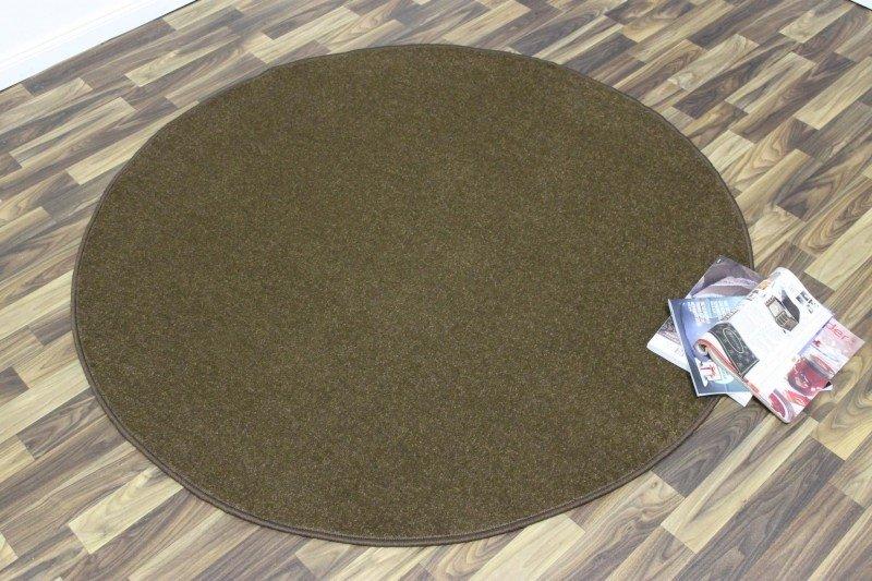 Hnědý kusový kulatý koberec Nasty