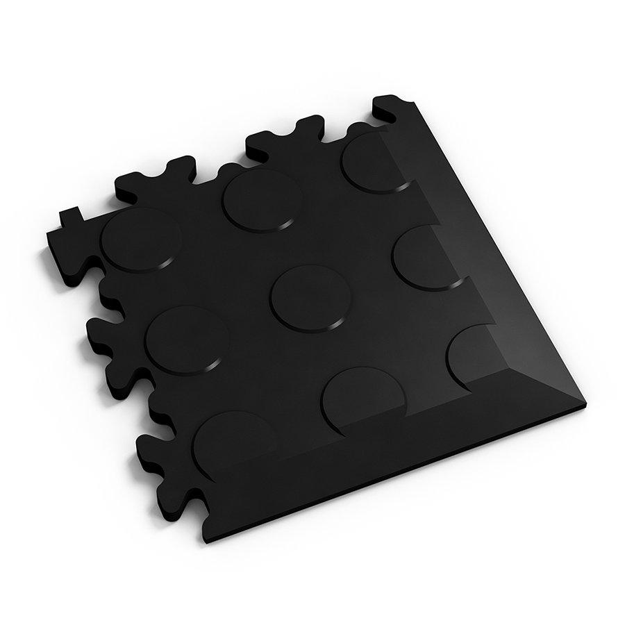 Černý vinylový plastový rohový nájezd Fortelock 2046 (penízky) - délka 14 cm, šířka 14 cm a výška 0,7 cm