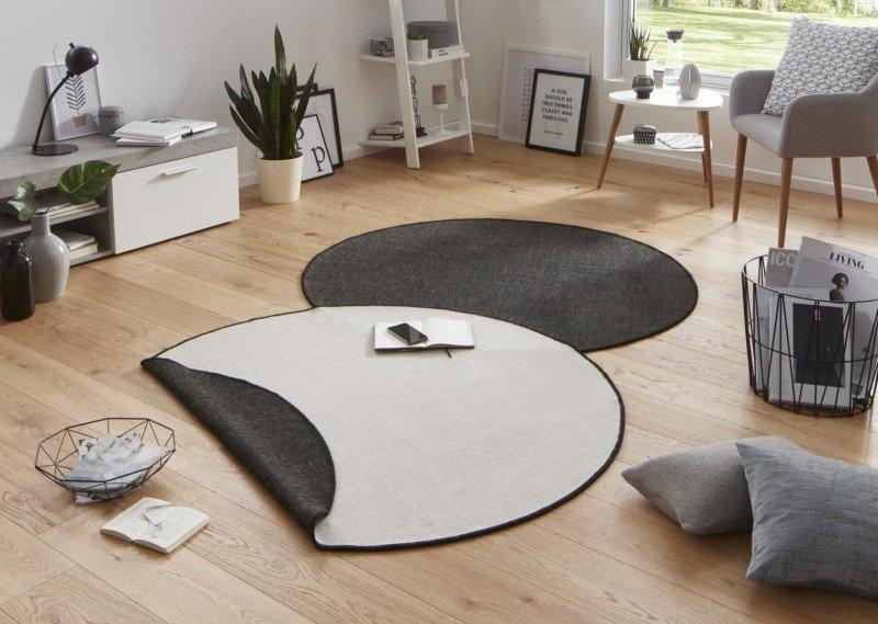 Béžovo-černý moderní oboustranný kusový kulatý koberec Twin-Wendeteppiche - průměr 140 cm