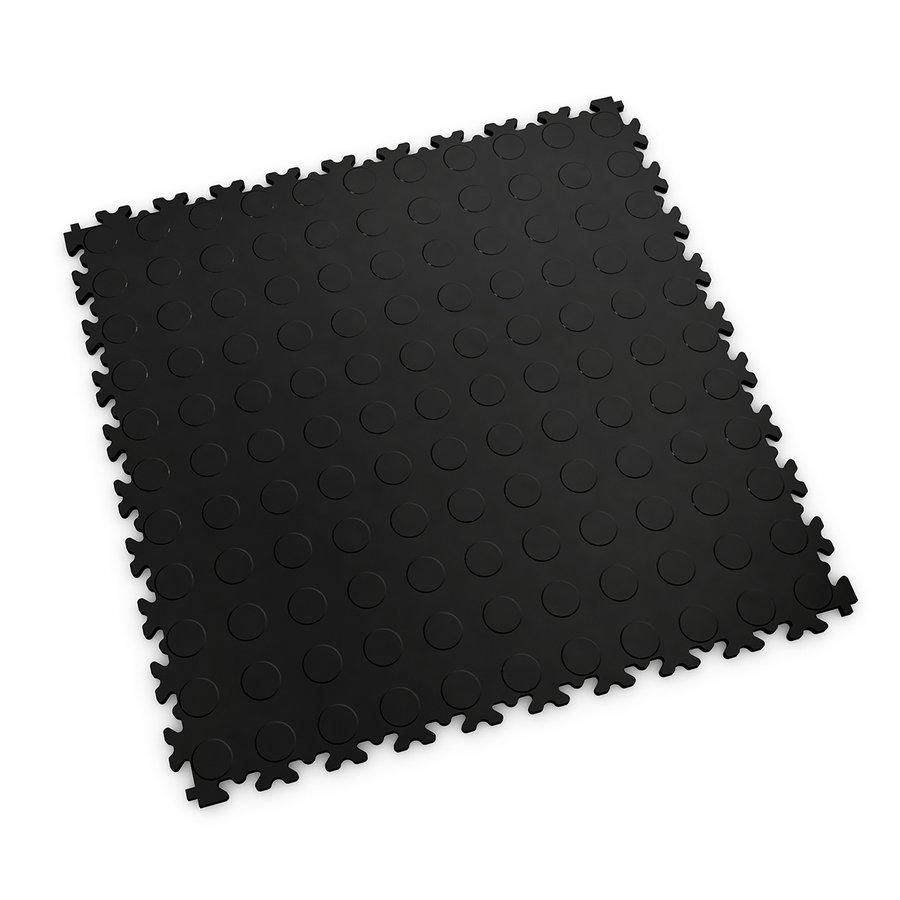 Černá vinylová plastová zátěžová dlaždice Fortelock Industry 2040 (penízky) - délka 51 cm, šířka 51 cm a výška 0,7 cm