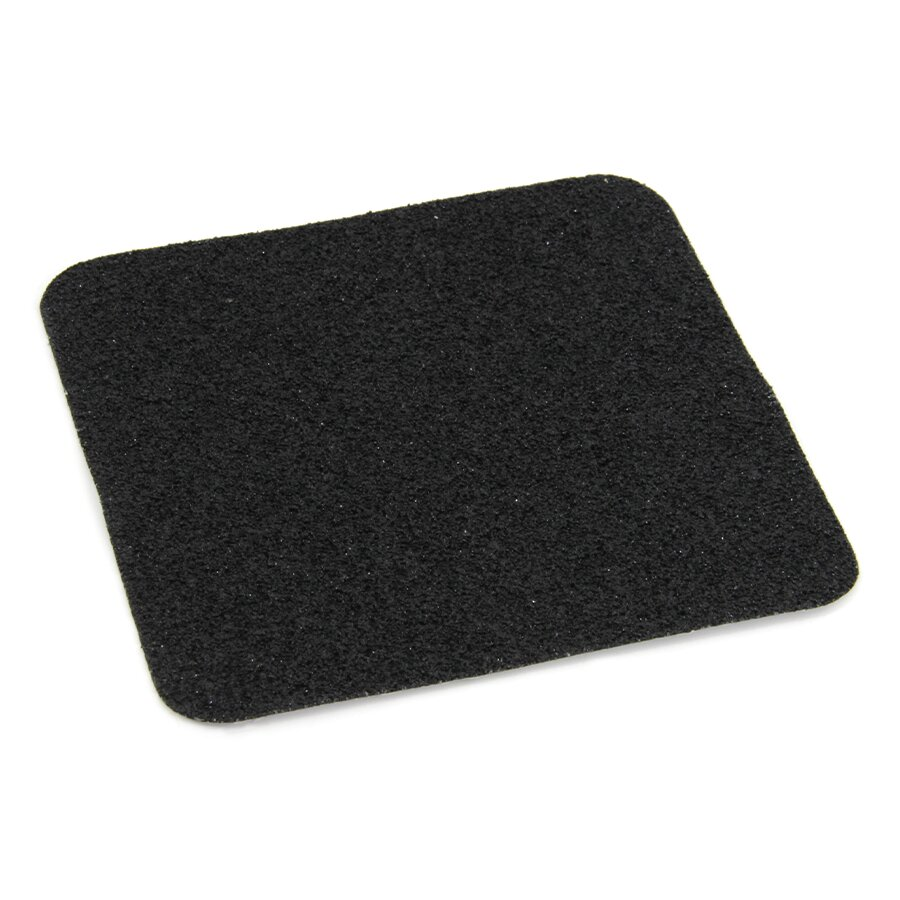 Černá korundová protiskluzová podlahová páska Super - délka 14 cm, šířka 14 cm a tloušťka 1 mm