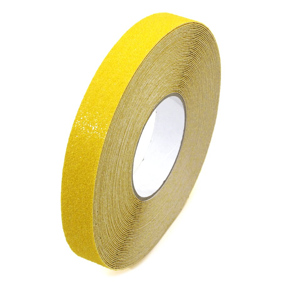 Žlutá korundová protiskluzová protiskluzová páska FLOMA Super - délka 18,3 m, šířka 2,5 cm a tloušťka 1 mm