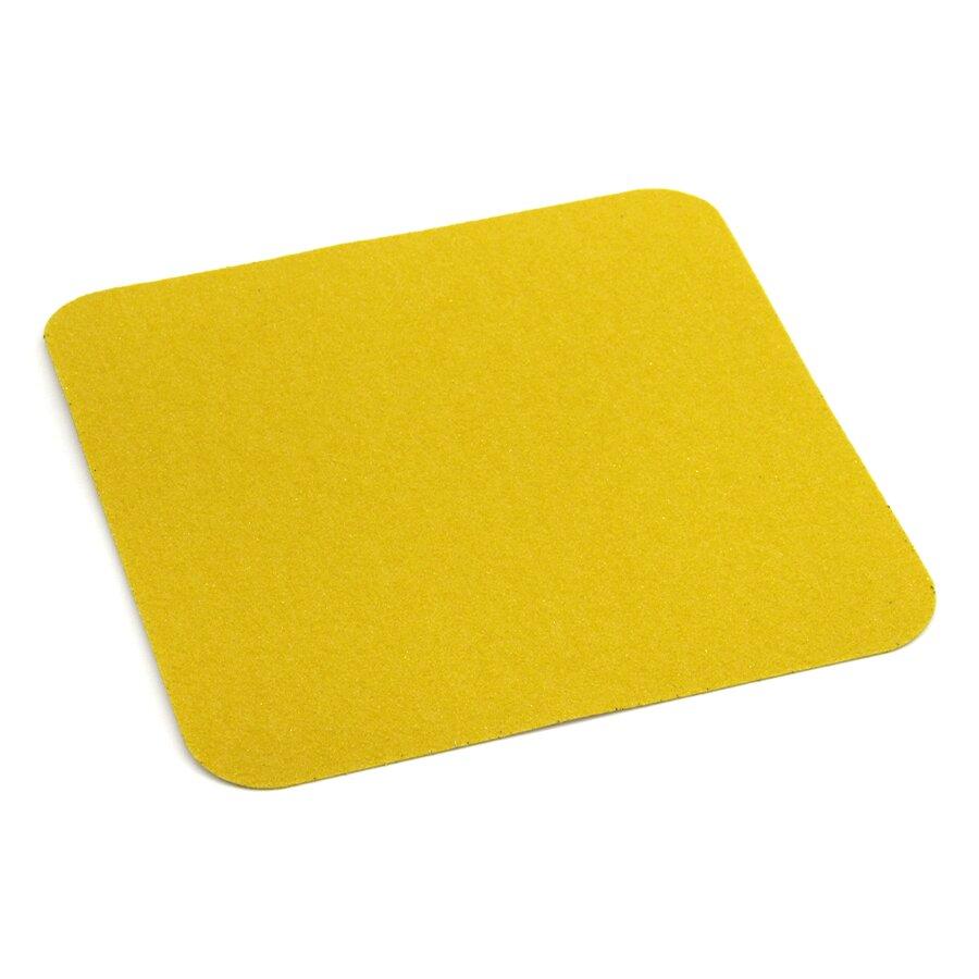 Žlutá korundová protiskluzová podlahová páska - délka 14 cm, šířka 14 cm a tloušťka 0,7 mm