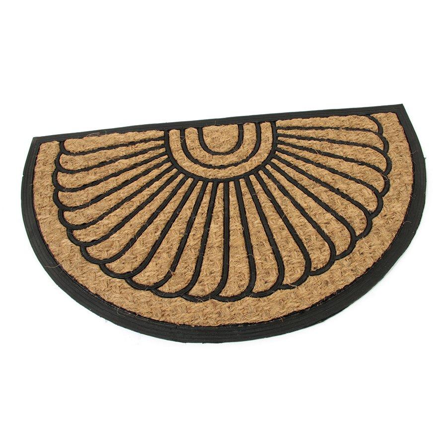 Kokosová čistící venkovní půlkruhová vstupní rohož FLOMA Flower - délka 45 cm, šířka 75 cm a výška 0,8 cm