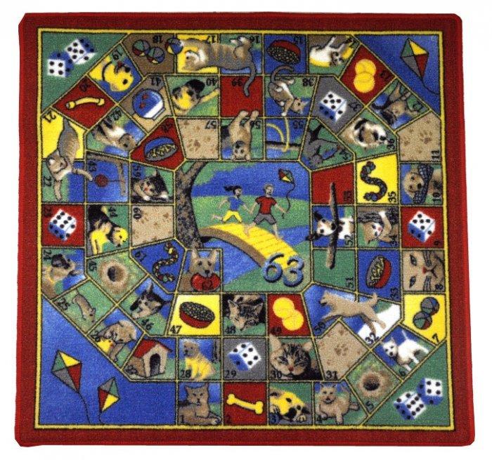 Různobarevný hrací kusový dětský koberec - délka 92 cm a šířka 92 cm