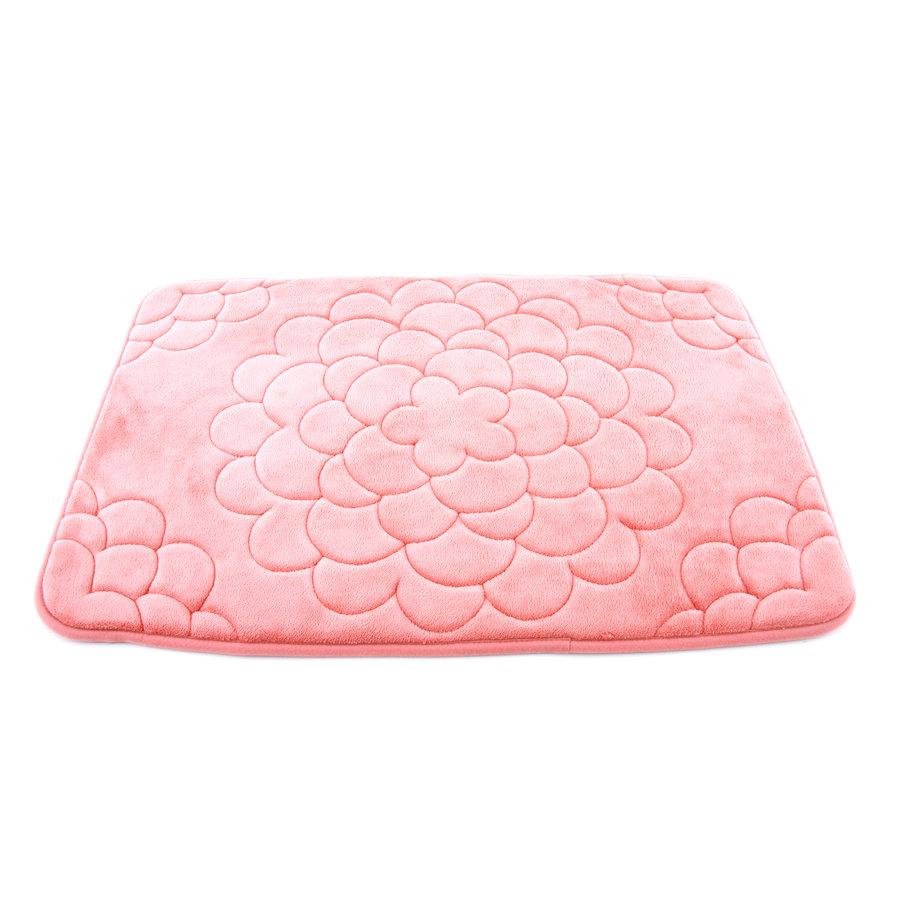 Růžová pěnová koupelnová předložka Flower - délka 71 cm a šířka 50 cm