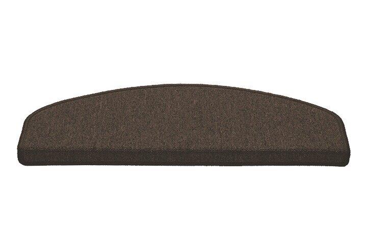Hnědý kobercový půlkruhový nášlap na schody Paris - délka 25 cm a šířka 65 cm