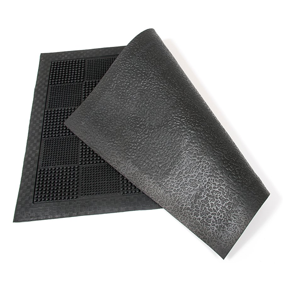 Gumová čistící venkovní vstupní rohož Pin Squares, FLOMA - délka 40 cm, šířka 60 cm a výška 0,7 cm