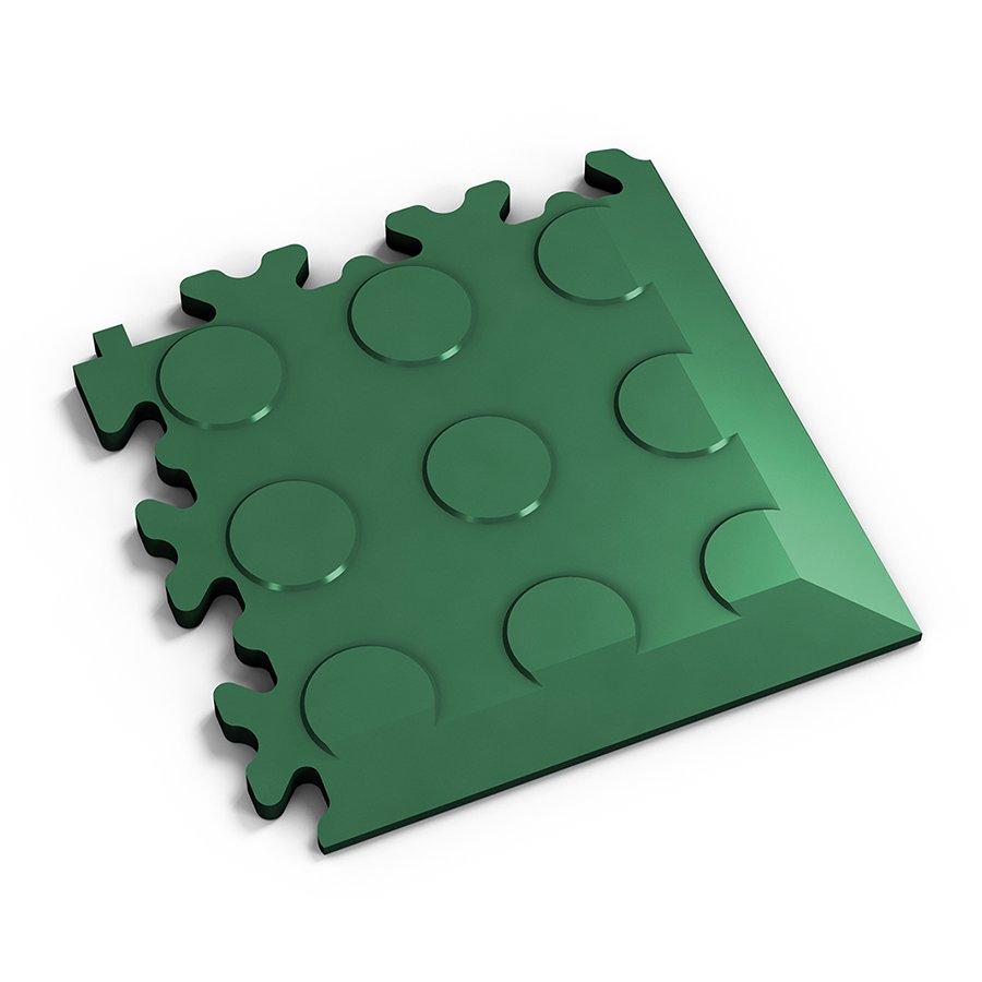 Zelený vinylový plastový rohový nájezd 2046 (penízky), Fortelock, 01 - délka 14 cm, šířka 14 cm a výška 0,7 cm