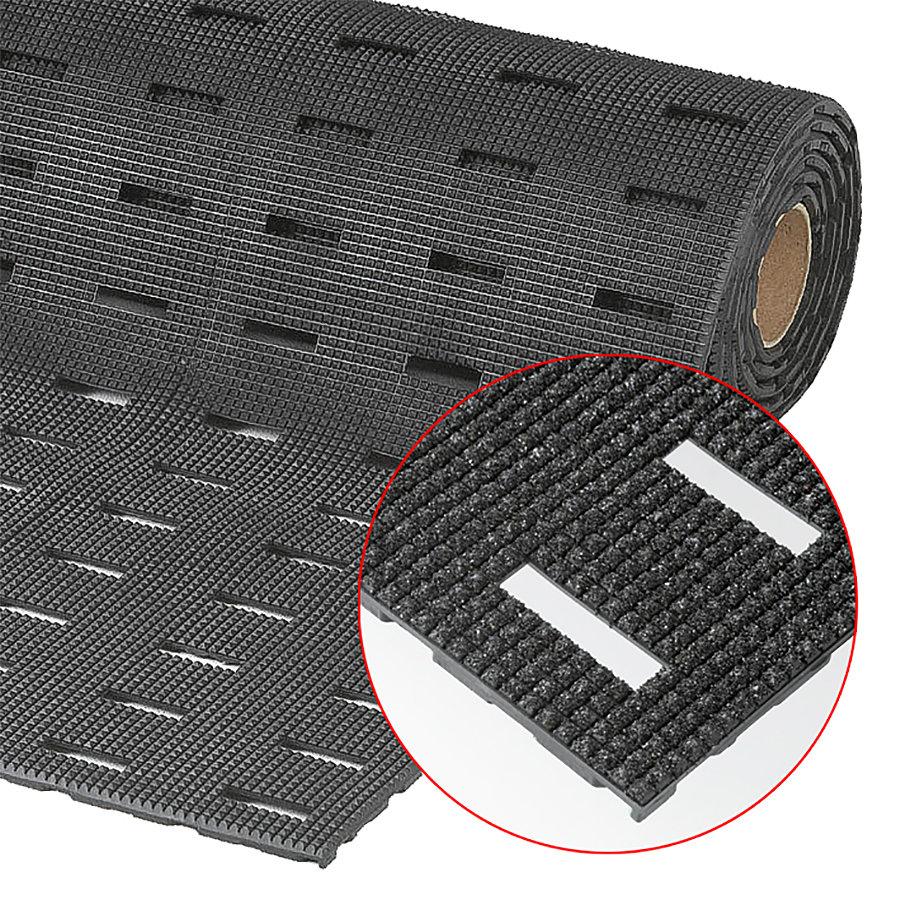 Černá metrážová olejivzdorná protiskluzová protiúnavová rohož Grip Step, Cushion Dek - délka 1 cm a výška 1,1 cm